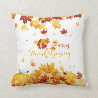 Thanksgiving Autumn Falling Leaves and Pumpkins Throw Pillow