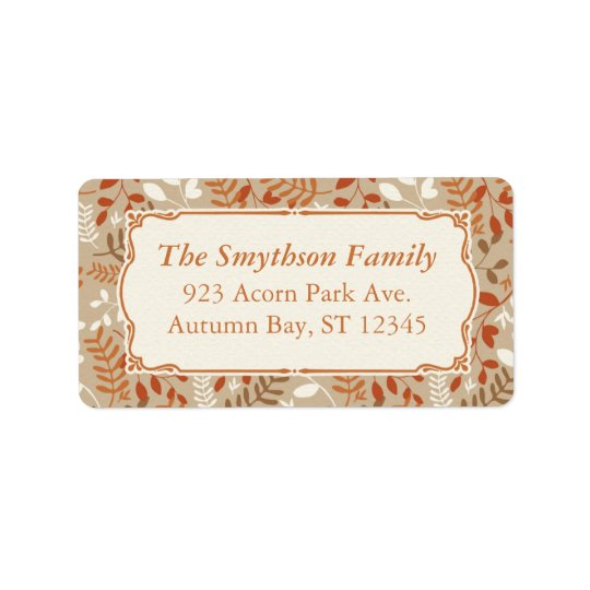 Thanksgiving Autumn Harvest Fall Foliage Label