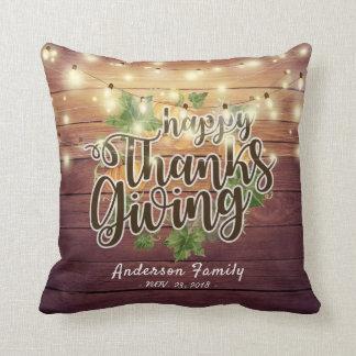 Thanksgiving Autumn Leaves Pumpkins String Lights Throw Pillow