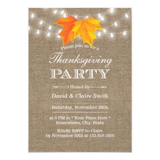 Thanksgiving Autumn Leaves String Lights Burlap Card