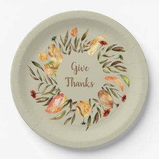 Thanksgiving  Autumn Leaves Wreath Paper Plate