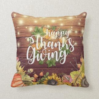Thanksgiving Autumn Maple Leaves Pumpkin Sunflower Throw Pillow