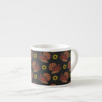 Thanksgiving Autumn Turkey Chalkboard Pattern Espresso Cup