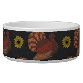 Thanksgiving Autumn Turkey Chalkboard Pattern Pet Water Bowl