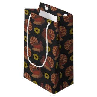 Thanksgiving Autumn Turkey Chalkboard Pattern Small Gift Bag