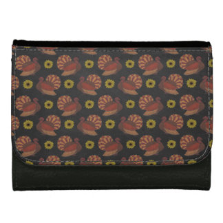 Thanksgiving Autumn Turkey Chalkboard Pattern Women's Wallet