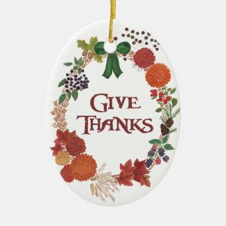 Thanksgiving Autumn Wreath to Customize Ceramic Ornament