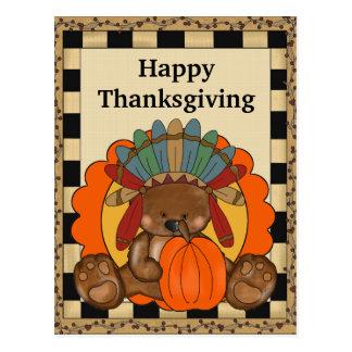 Thanksgiving Bear holiday greeting postcard