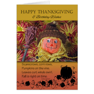 Thanksgiving Birthday, Cute Scarecrow and Poem Card