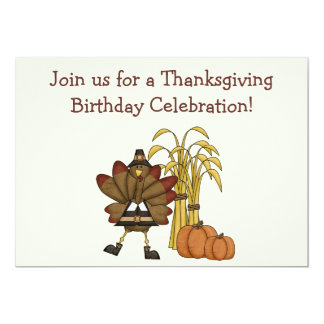 Thanksgiving Birthday Invitation - Boys