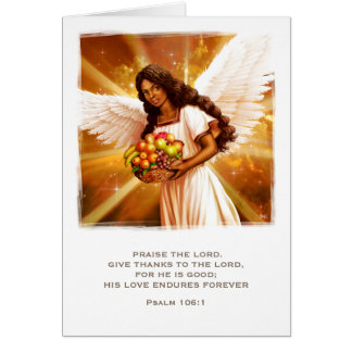 Thanksgiving Blessings. Afro Angel Greeting Cards