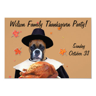 "Thanksgiving Boxer dog 3.5"" X 5"" Invitation Card"