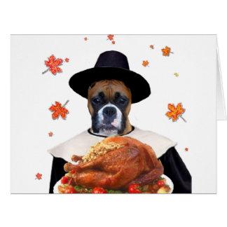 Thanksgiving Boxer dog Big Greeting Card
