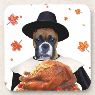 Thanksgiving Boxer Dog Drink Coasters
