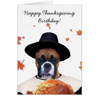 Thanksgiving boxer dog notecardj note card