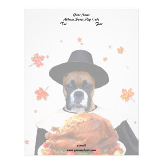 Thanksgiving Boxer dog Personalized Letterhead