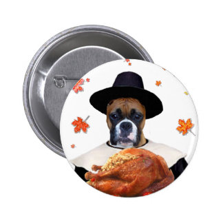 Thanksgiving Boxer Dog Pinback Button