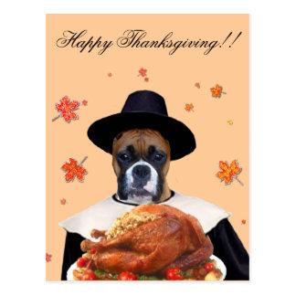 Thanksgiving boxer dog postcard