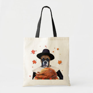 Thanksgiving Boxer Dog tote bag