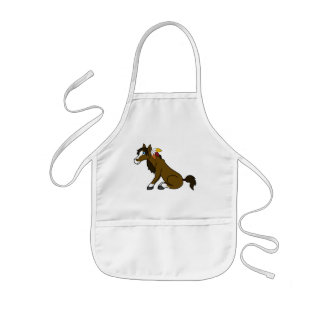 Thanksgiving Brown Horse with Turkey Feathers Kids Apron