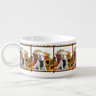 Thanksgiving bulldog chili mug