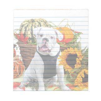 Thanksgiving Bulldog  dog notepad