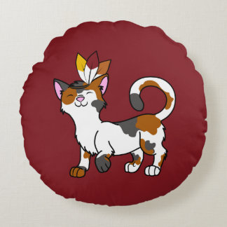 Thanksgiving Calico Cat with Indian Headdress Round Pillow