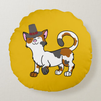 Thanksgiving Calico Cat with Pilgrim Hat Round Pillow