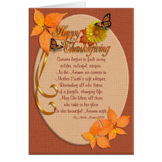 Thanksgiving card Autumn ivy with poem