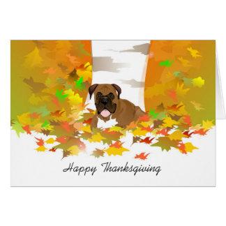 Thanksgiving Card - Boxer Dog Autumn Leaves