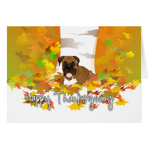 Thanksgiving Card Boxer Dog in Autumn Leaves