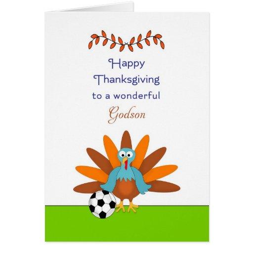 Thanksgiving Card for Godson-Turkey & Soccer Ball