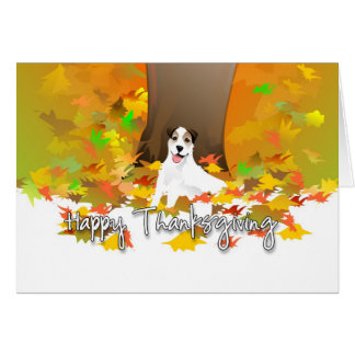 Thanksgiving Card - Jack Russell Dog Autumn Leaves
