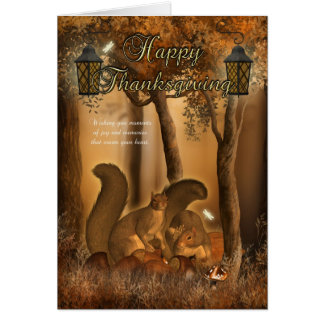 Thanksgiving Card With Squirrels
