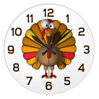Thanksgiving Cartoon Turkey Large Clock