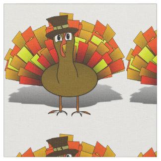 Thanksgiving Cartoon Turkey Pilgrim Fabric