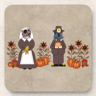 Thanksgiving Cats Coaster