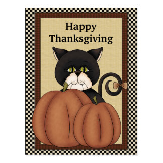 Thanksgiving Cats greeting postcard