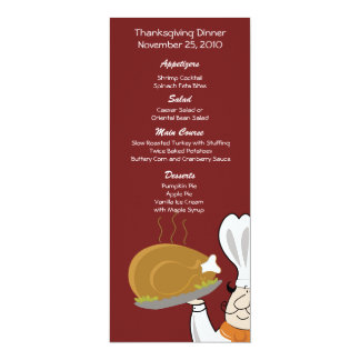 Thanksgiving Chef Turkey Day Customized Menu 4x9.25 Paper Invitation Card