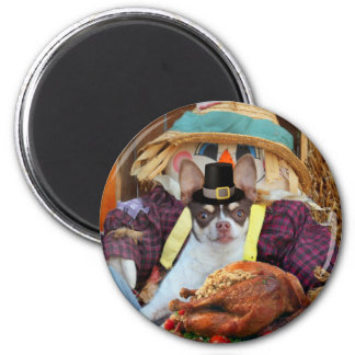 Thanksgiving Chihuahua dog 2 Inch Round Magnet