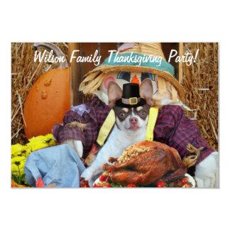 "Thanksgiving Chihuahua dog 3.5"" X 5"" Invitation Card"