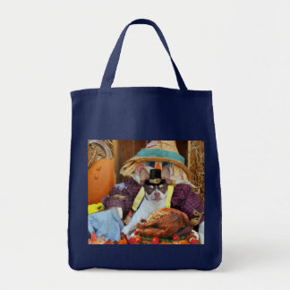 Thanksgiving chihuahua dog grocery tote bag