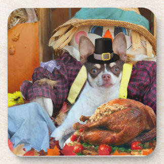 Thanksgiving Chihuahua dog Beverage Coaster