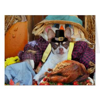 Thanksgiving Chihuahua dog Big Greeting Card