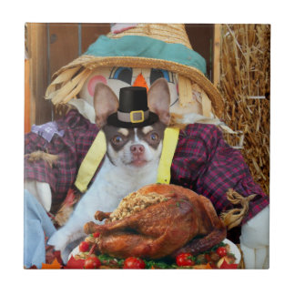 Thanksgiving Chihuahua dog Ceramic Tile