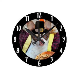 Thanksgiving Chihuahua dog Clock