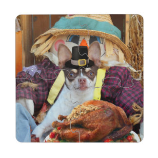 Thanksgiving chihuahua dog drink coaster puzzle