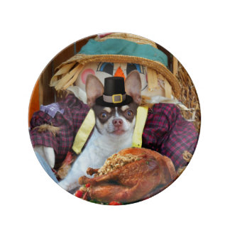 Thanksgiving chihuahua dog porcelain plates