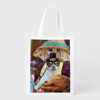 Thanksgiving chihuahua dog reusable grocery bag