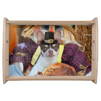 Thanksgiving chihuahua dog serving trays